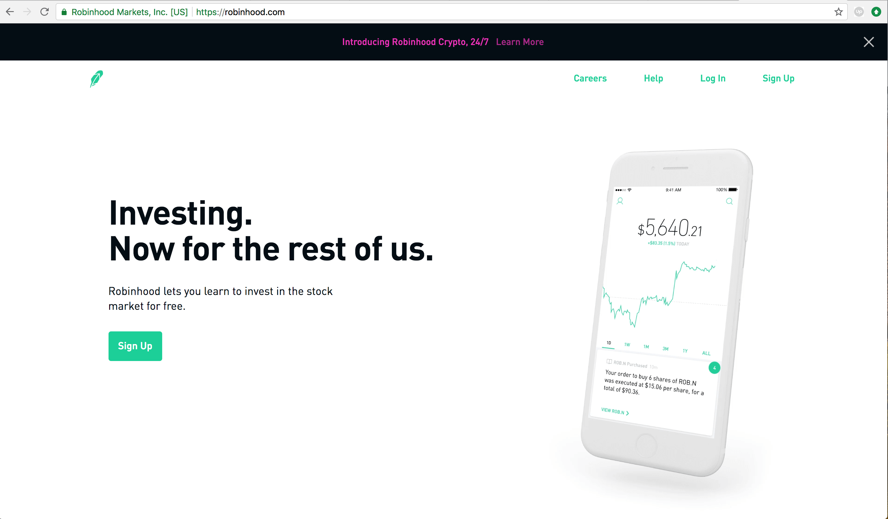 Support Returns Robinhood