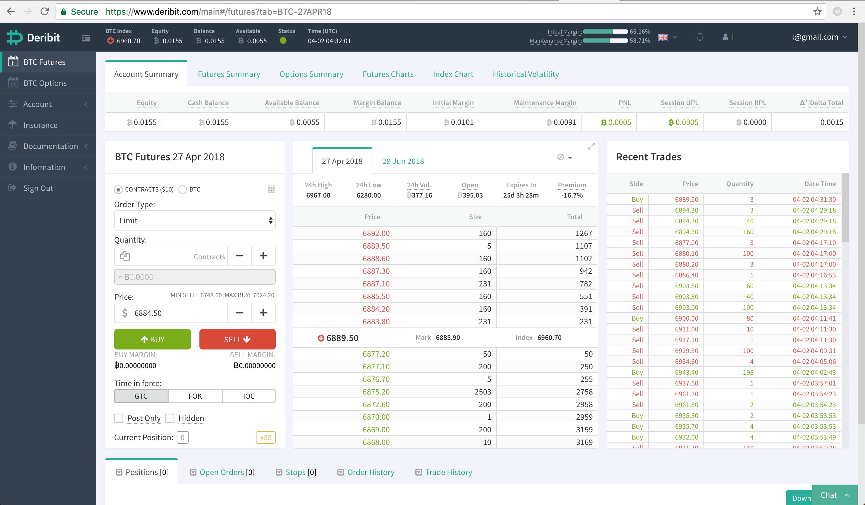 Deribit futures trading