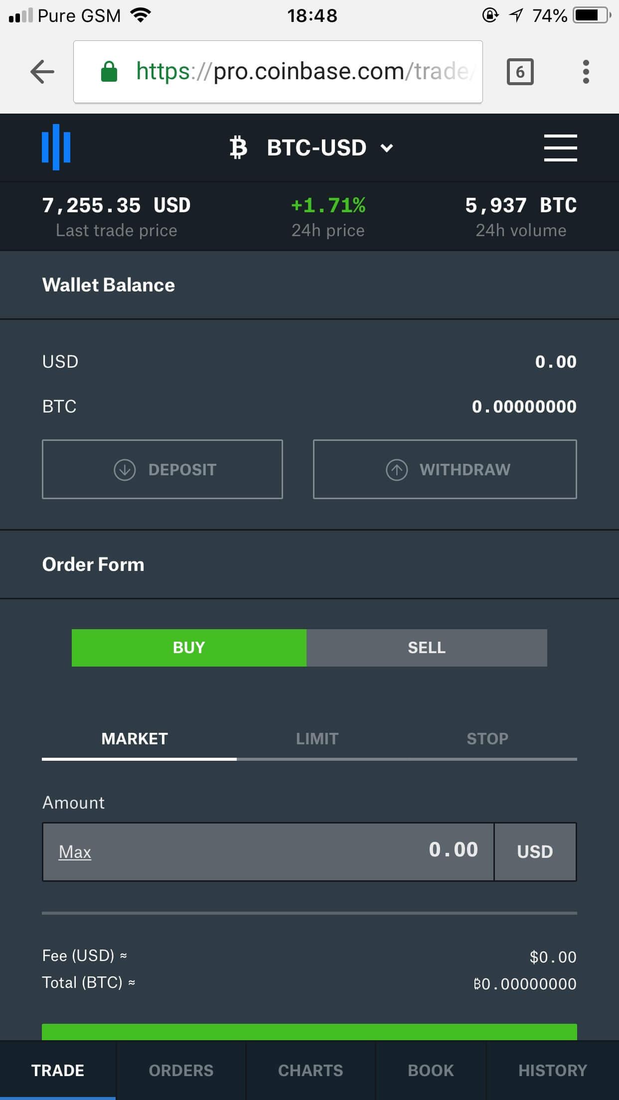 Coinbase Pro Mobile